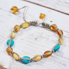 Genuine Baltic Amber Bracelet Turquoise Shamballa Macrame Bracelet Unisex Gift