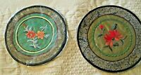 """2 Vintage Chinese 100% Silk 6"""" Embroidered ROUND Doily Doilies NIP~FLORAL CENTER"""