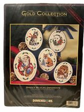 DIMENSIONS GOLD COLLECTION Santa's Wildlife Christmas Ornaments VTG #8616 New