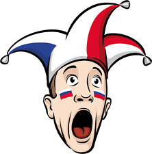 "Jester Cap Russia Fan Sport Car Bumper Sticker Decal 5"" x 5"""