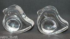 Iittala Finland Clear Glass Tiu Bird 2 Egg Cups Holder Stand Set Jorma Vennola