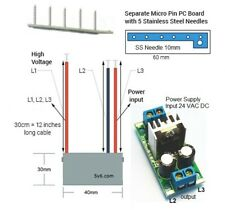 24V Negative ion Generator Kit Plasma Ionizer Module w Needle Emitter, 24VAC DC