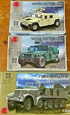4D MODEL 1:72 M1046 HUMVEE (x2) U.S.ARMOURED CAR & GERMAN WW2 HALF TRACK JOB LOT