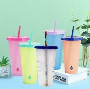 Reusable Color Changing Cups 24oz. set of 5 Plastic Cups with Lids and Straws