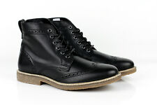 Mens Black Leather Boots Casual Ankle Brogue Lace Up Smart Shoes Dress Chelsea
