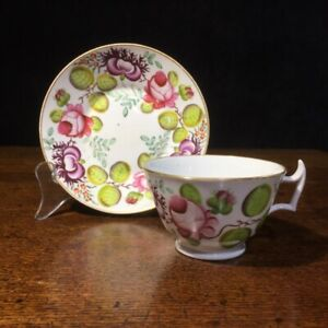Newhall 'Rose & Poppy' cup and saucer, circa 1815