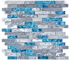 Glasmosaik Naturstein Blau Grau Maueroptik Fliesenspiegel 87-0404_b | 1 Matte