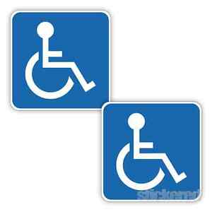 2 x DISABLED MOBILITY BLUE BADGE CAR BUMPER WINDOW VINYL STICKERS 100mm x 100mm