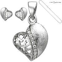 ❤️ Herzanhänger Halskette Ohrstecker 925 Silber Herzkette Damen Venezianer-Kette
