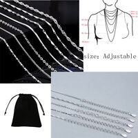 Solid S925 Sterling Silver Adjustable Thin Chain Charm Necklace 14 16 18 Inches