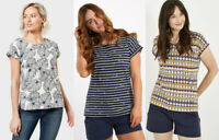 Weird Fish Floral Print Round Neck Short Sleeves Cotton Tunic Top T shirt Blouse