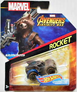 HOT WHEELS 2018 MARVEL AVENGERS INFINITY WAR ROCKET CHARACTER CARS