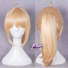 "Anime Saber 16"" Light Blonde Halloween Cosplay Full Wig+Ponytail Heat Resistant"