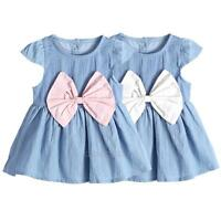 Newborn Baby Girls Short Sleeve Denim Dress Bowknot Party Wedding Princess Dress