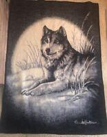 "Biederlack Wolf Full Moon Reverse Image Reversible Blanket 75x56"""