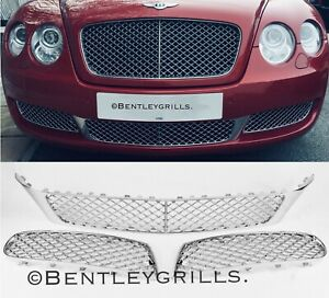 Bentley Continental Flying Spur Chrome W12 Lower Front Grills Pre 2010 MANSORY