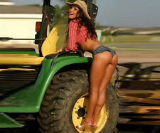"""Sexy Cowgirl on tractor poster 8"""" x 9  1/2 """"  10 mill ultra luster photo paper2"""