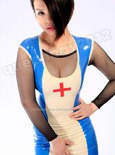 100% Latex Rubber Gummi 0.45mm Nurse Dress Catsuit Skirt Suit Uniform Handmade