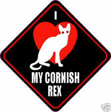 "I Love (Heart) Cornish Rex Cat 4"" Sticker"