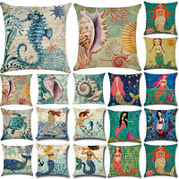 Sea Mermaid Cushions Ocean World Covers Seat Pillowcase Garden Home Decorations