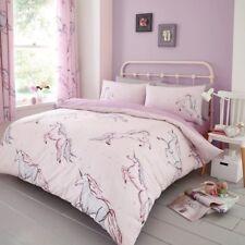 Star Unicorn Quilt Duvet Cover & Pillowcase Riversable Bed Set Single Kids Girl