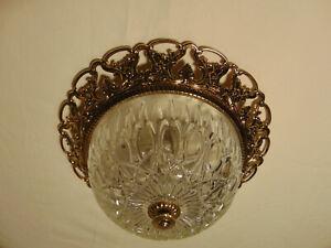 antik 2Fl  Kronleuchter Lampe Plafoniere  Messing Gold Glas  Frankreich ca.1930