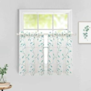 MIULEE Semi Sheer Embroidered Leaf Pattern Tier Window Curtains Linen Texture Vo