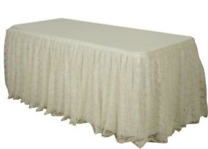 Lace Premium Pleated Table Skirt Great for Wedding Banquet Village 14Ft