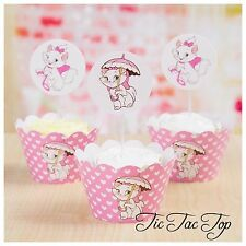 12 Disney Aristocats Marie Cat Cupcake Topper + 12 Wrapper. Party Supplies Lolly