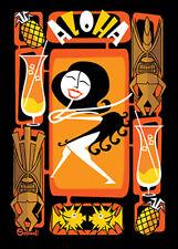"Clee Sobieski PRINT Mid Century Modern Hawaiian Tiki Madmen Googie Midmod 5x7"""