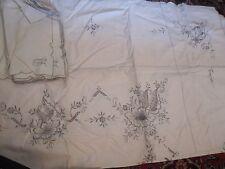 NWOT NEW Vintage Madeira Cut Work Floral Embroidery Tablecloth + 12 Napkins Set