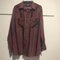 Authentic Youngbloods Men's Western Style Shirt XL Pearl Snaps Stripes