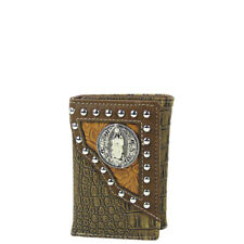 BROWN CROCODILE LEATHERETTE JESUS MENS TRIFOLD WALLET ID HOLDER WESTERN COUNTRY