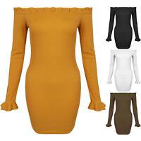 New Off Shoulder Ribbed Frill Top Ruffle Sleeve Short Bardot Mini Bodycon Dress