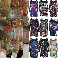 New Fashion Women's Ladies Long Sleeve Christmas Swing Flared Party Dress Tops