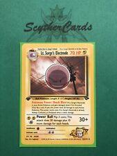 NM Lt Surge's Electrode 1st Edition Gym Challenge Pokemon Card + Sleeve 52/132
