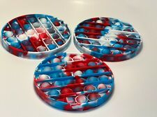 Lot of 3 Fidget Pop It Popit Bubble Sensory Stress Toys Red White Blue Tie Dye