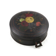 Antique 19th c. Round Toleware Spice Cannister Box Caddy Primitive Folk Art