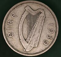 1939 Ireland Eire Irish florin two shilling coin 75% silver coin *[17658]