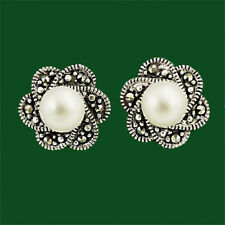 Classical Solid Sterling Silver 925 Marcasite Freshwater Pearl Stud Earrings