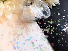 Nail Art Chunky *MiNe* Holographic Iridescent Hex Heart Mix Glitter Spangle Pot