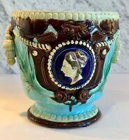 English Majolica Turquoise Jardiniere Portrait Medallion Tassle Handles