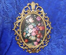 """Vntg Oval Convex Glass Floral Picture Ornate Brass Frame 13"""" X 10"""""""