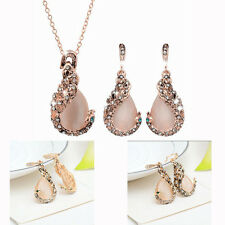 Fashion Women's Peacock Crystal Rhinestone Pendant Necklace Earrings Jewelry Set
