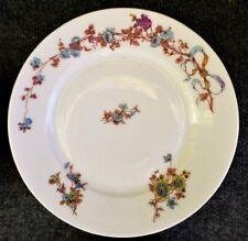 """6 HAVILAND & CO. LIMOGES PORCELAIN D 9 3/4"""" DINNER PLATES VLUE RIBBON FLOWERS"""