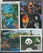 Nicaragua 1999 wild animals birds wild cats monkeys panda etc 3klb+2s/sMnh