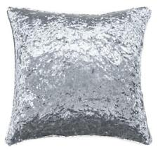 "Grey / Silver Crushed Velvet LARGE 22"" / 55cm Super Soft Cushion Cover Piped"