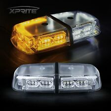36 LED Oval Roof Top Strobe Light Bar Emergency Hazard Flash White & Amber