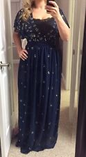 New Asos Frock And Frill Long Beaded Maxi Dress Stunning  Size 4 Navy