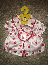 Build a Bear Satin Heart Robe Sleep Clothes Red White Slippers Nwt